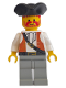 Minifig No: pi053  Name: Pirate Brown Vest Ascot, Light Gray Legs, Black Pirate Triangle Hat