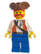 Minifig No: pi054  Name: Pirate Brown Vest Ascot, Blue Legs, Brown Pirate Triangle Hat