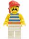 Minifig No: pi073  Name: Pirate Blue / White Stripes Shirt, White Legs, Red Bandana
