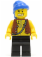 Minifig No: pi084  Name: Pirate Vest and Anchor Tattoo, Black Legs, Blue Bandana, Gold Tooth
