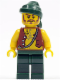 Minifig No: pi095  Name: Pirate Vest and Anchor Tattoo, Dark Green Legs, Dark Green Bandana, Brown Moustache