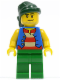 Minifig No: pi108  Name: Pirate Blue Vest, Green Legs, Dark Green Bandana, Smirk and Stubble Beard
