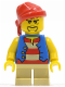 Minifig No: pi120  Name: Pirate Blue Vest, Tan Short Legs, Red Bandana, Black Beard