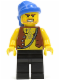 Minifig No: pi128  Name: Pirate Vest and Anchor Tattoo, Black Legs, Blue Bandana