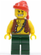 Minifig No: pi130  Name: Pirate Vest and Anchor Tattoo, Dark Green Legs, Red Bandana