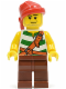 Minifig No: pi134  Name: Pirate Green / White Stripes, Reddish Brown Legs, Red Bandana