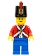 Minifig No: pi135a  Name: Imperial Soldier II - Shako Hat Printed, Blue Legs, Male, Black Eyebrows