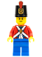 Minifig No: pi135b  Name: Imperial Soldier II - Shako Hat Printed, Blue Legs, Male, Reddish Brown Eyebrows