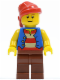 Minifig No: pi137  Name: Pirate Blue Vest, Reddish Brown Legs, Red Bandana
