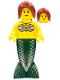 Minifig No: pi139  Name: Mermaid - Dark Red Hair Ponytail Long with Side Bangs
