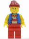 Minifig No: pi144  Name: Pirate Blue Vest, Red Legs, Dark Red Bandana, Scowl