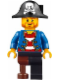 Minifig No: pi146  Name: Pirate Blue Jacket, Black Leg with Peg Leg, Black Pirate Hat with Skull