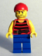 Minifig No: pi161  Name: Pirate 3 - Black and Red Stripes, Blue Legs, Scar
