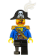 Minifig No: pi185  Name: Pirate Captain - Bicorne Hat with Skull and White Plume, Pearl Gold Epaulette, Blue Open Jacket, Black Leg and Pearl Dark Gray Peg Leg