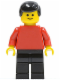 Minifig No: pln002  Name: Plain Red Torso with Red Arms, Black Legs, Black Male Hair