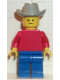 Minifig No: pln003  Name: Plain Red Torso with Red Arms, Blue Legs, Light Gray Cowboy Hat