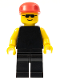 Minifig No: pln005  Name: Plain Black Torso with Yellow Arms, Black Legs, Sunglasses, Red Cap