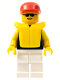 Minifig No: pln008  Name: Plain Black Torso with Yellow Arms, White Legs, Sunglasses, Red Cap, Life Jacket