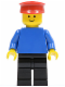 Minifig No: pln009  Name: Plain Blue Torso with Blue Arms, Black Legs, Red Hat