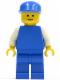 Minifig No: pln010  Name: Plain Blue Torso with White Arms, Blue Legs, Blue Cap