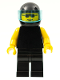 Minifig No: pln011  Name: Plain Black Torso with Yellow Arms, Black Legs, Sunglasses, Black Helmet, Trans-Light Blue Visor