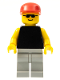Minifig No: pln012  Name: Plain Black Torso with Yellow Arms, Light Gray Legs, Sunglasses, Red Cap