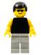 Minifig No: pln013  Name: Plain Black Torso with Yellow Arms, Light Gray Legs, Sunglasses, Black Male Hair