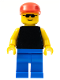 Minifig No: pln014  Name: Plain Black Torso with Yellow Arms, Blue Legs, Sunglasses, Red Cap