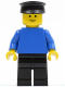 Minifig No: pln015  Name: Plain Blue Torso with Blue Arms, Black Legs, Black Hat