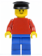 Minifig No: pln017  Name: Plain Red Torso with Red Arms, Blue Legs, Black Hat