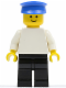 Minifig No: pln018  Name: Plain White Torso with White Arms, Black Legs, Blue Hat