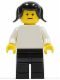 Minifig No: pln019  Name: Plain White Torso with White Arms, Black Legs, Black Pigtails Hair