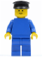 Minifig No: pln020  Name: Plain Blue Torso with Blue Arms, Blue Legs, Black Hat