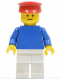 Minifig No: pln021  Name: Plain Blue Torso with Blue Arms, White Legs, Red Hat