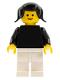 Minifig No: pln022  Name: Plain Black Torso with Black Arms, White Legs, Black Pigtails Hair
