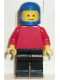 Minifig No: pln025  Name: Plain Red Torso with Red Arms, Black Legs, Blue Classic Helmet
