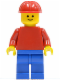 Minifig No: pln026  Name: Plain Red Torso with Red Arms, Blue Legs, Red Construction Helmet