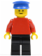 Minifig No: pln027  Name: Plain Red Torso with Red Arms, Black Legs, Blue Hat