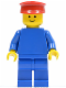 Minifig No: pln028  Name: Plain Blue Torso with Blue Arms, Blue Legs, Red Hat