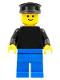 Minifig No: pln029  Name: Plain Black Torso with Black Arms, Blue Legs, Black Hat