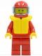 Minifig No: pln031  Name: Plain Red Torso with Red Arms, Red Legs, Red Helmet, Trans-Light Blue Visor, Life Jacket