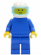 Minifig No: pln032  Name: Plain Blue Torso with Blue Arms, Blue Legs, White Helmet, Trans-Light Blue Visor