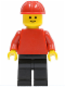 Minifig No: pln033  Name: Plain Red Torso with Red Arms, Black Legs, Red Construction Helmet