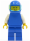 Minifig No: pln034  Name: Plain Blue Torso with White Arms, Blue Legs, Blue Helmet, Trans-Light Blue Visor
