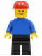 Minifig No: pln037  Name: Plain Blue Torso with Blue Arms, Black Legs, Red Construction Helmet