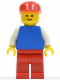 Minifig No: pln038  Name: Plain Blue Torso with White Arms, Red Legs, Red Cap