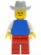 Minifig No: pln039  Name: Plain Blue Torso with White Arms, Red Legs, Light Gray Cowboy Hat