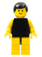 Minifig No: pln040  Name: Plain Black Torso with Yellow Arms, Yellow Legs, Black Male Hair