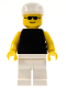 Minifig No: pln041  Name: Plain Black Torso with Yellow Arms, White Legs, White Cap, Sunglasses
