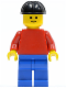 Minifig No: pln042  Name: Plain Red Torso with Red Arms, Blue Legs, Black Construction Helmet